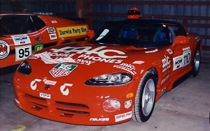 Car #110 Dodge Viper. Car #95 Ford Mustang Fast Back in the background